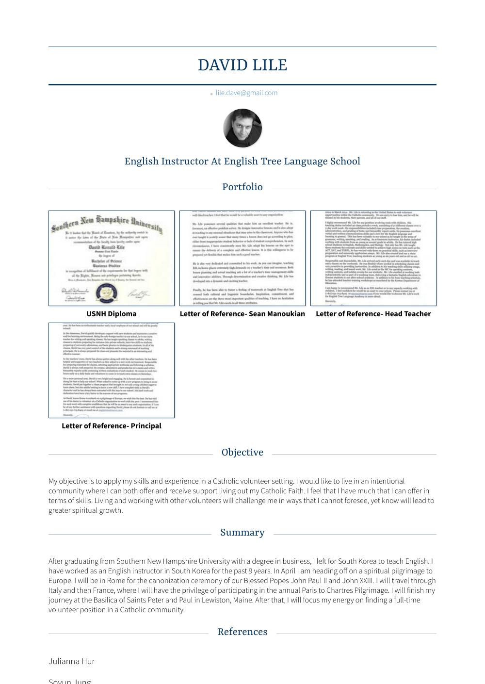 English Instructor Resume Sample