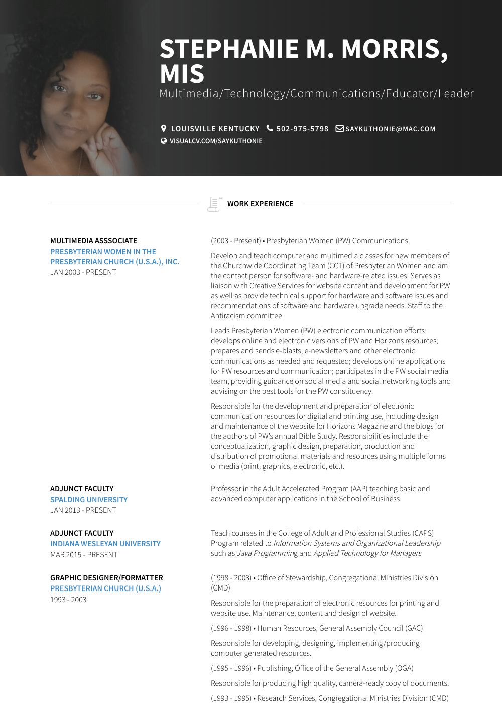 Faculty Resume Sample