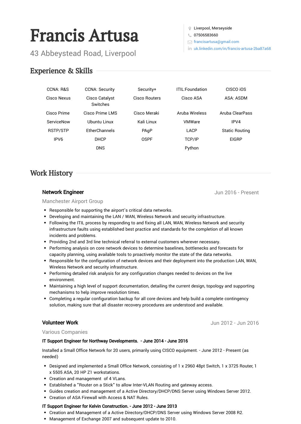 Volunteer Work  Resume Samples