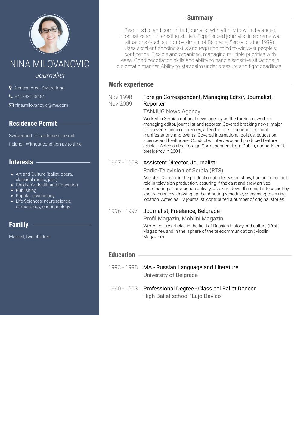 Correspondent Resume Samples And Templates Visualcv