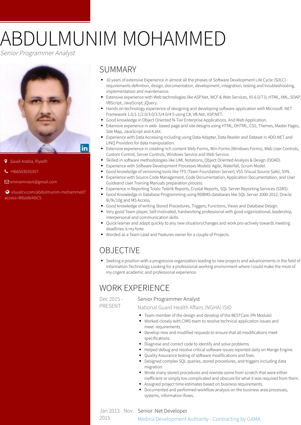 Senior Net Developer Resume Samples And Templates Visualcv