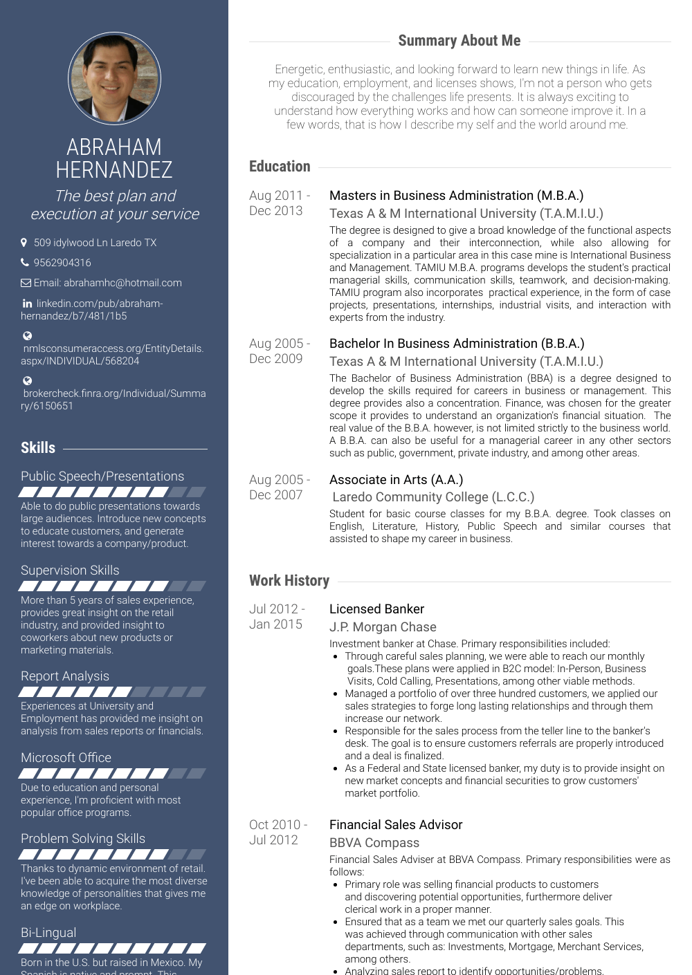 Bank Resume Sample