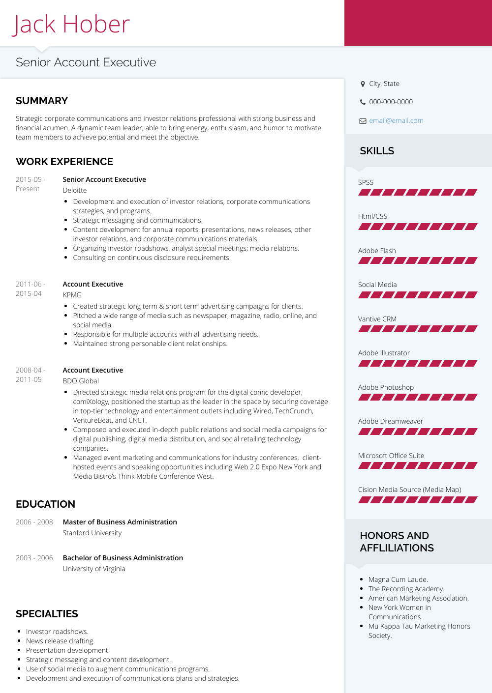 account executive  resume samples and templates  visualcv