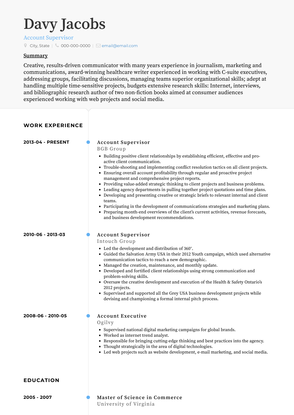 Account Supervisor Resume Sample
