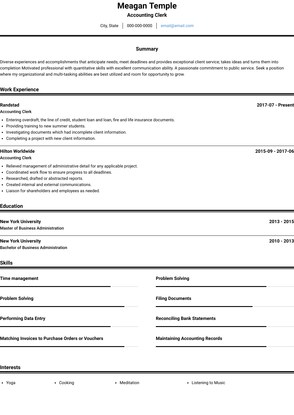 Accounting Clerk Resume Samples And Templates Visualcv