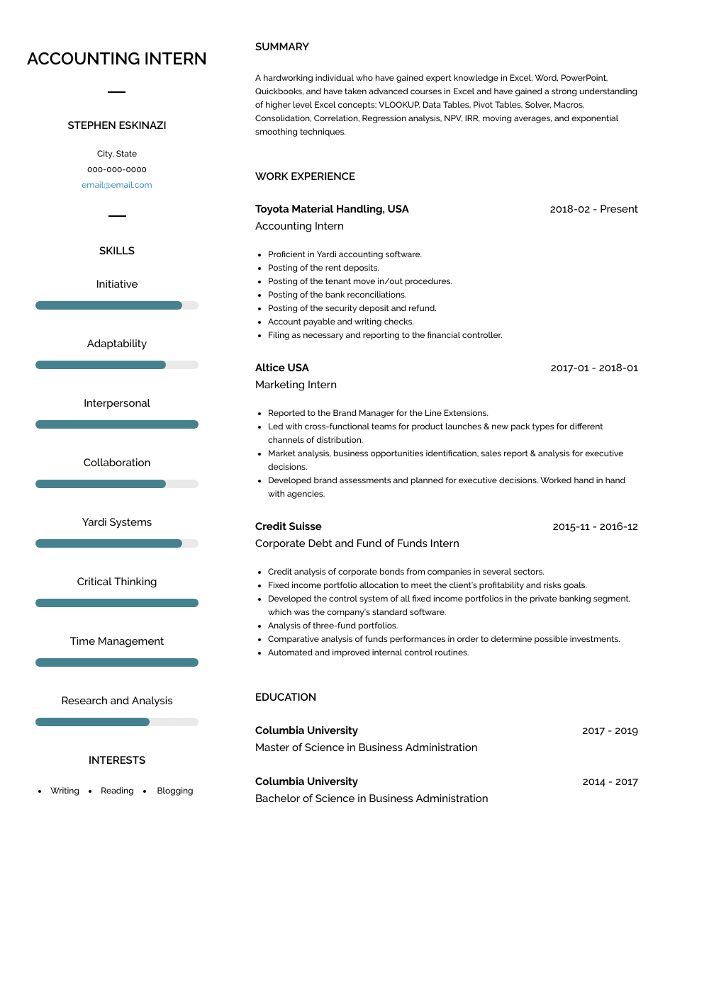 Accounting Intern Resume Sample