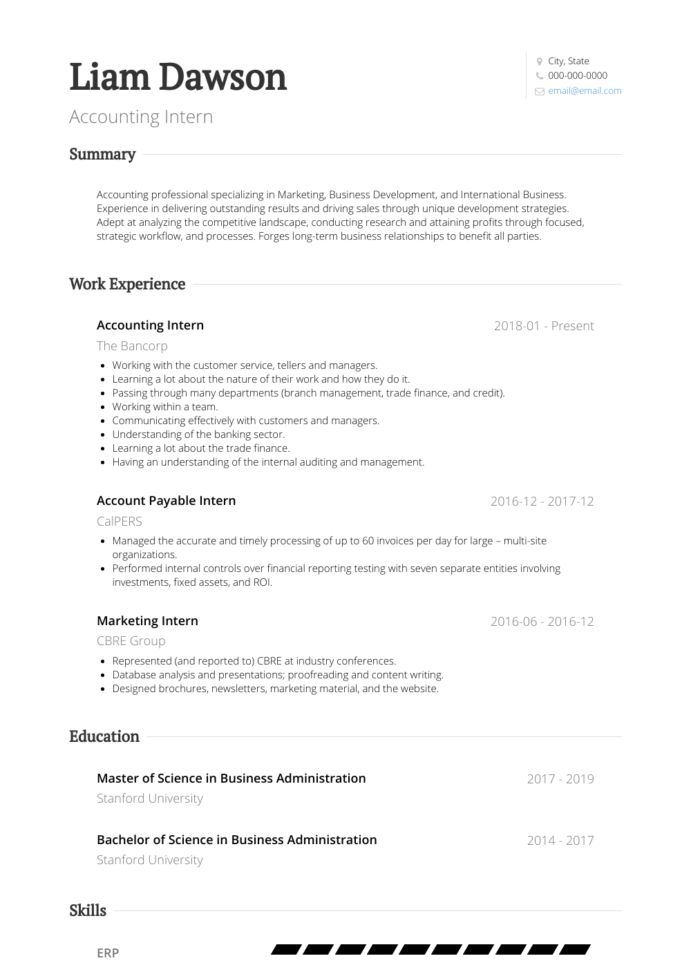 Accounting Intern Resume Sample and Template