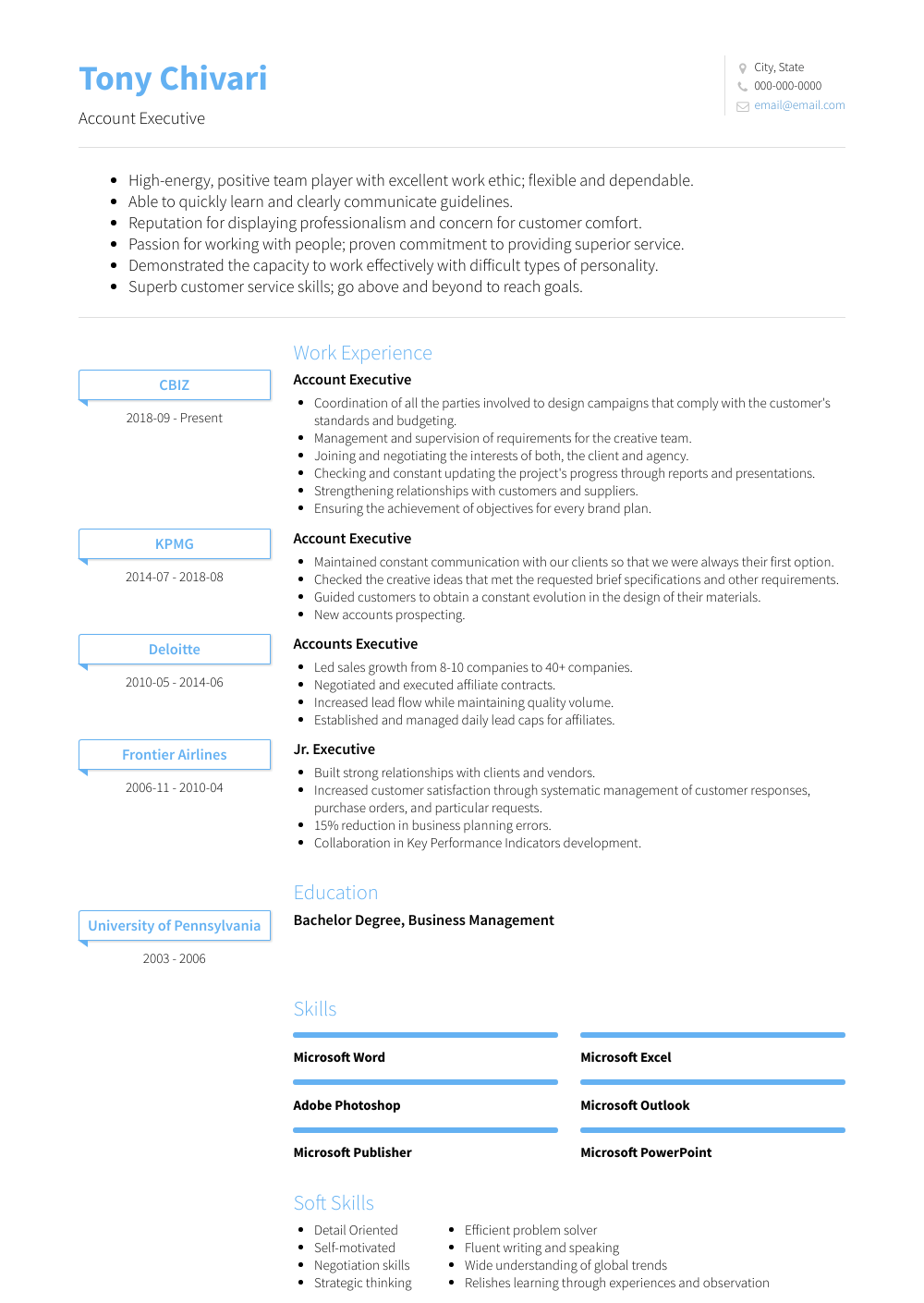 Account Executive Resume Sample and Template