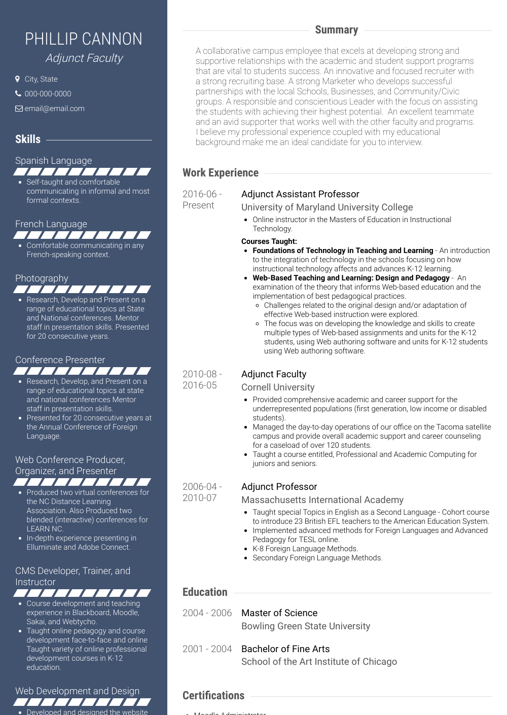 Adjunct Faculty Resume Sample and Template