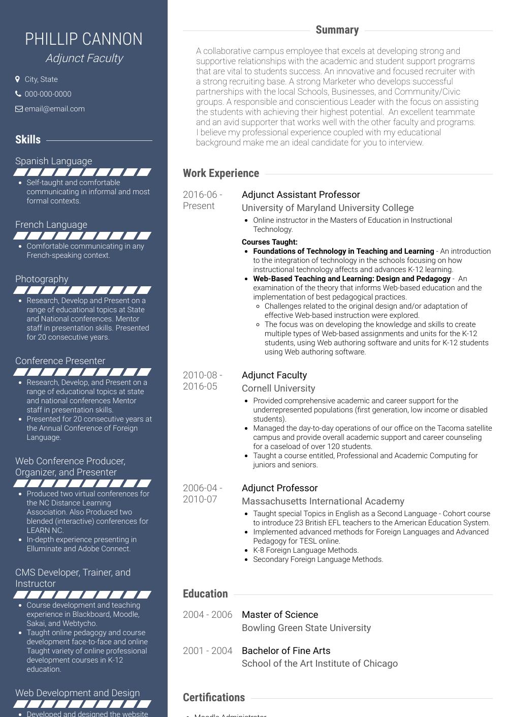 Adjunct Faculty - Resume Samples & Templates | VisualCV