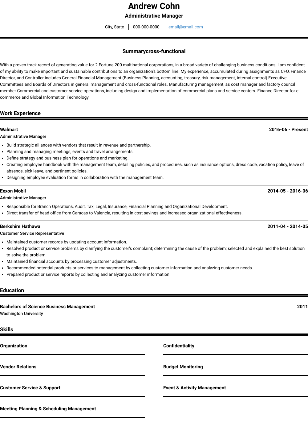 Administration Resume Sample