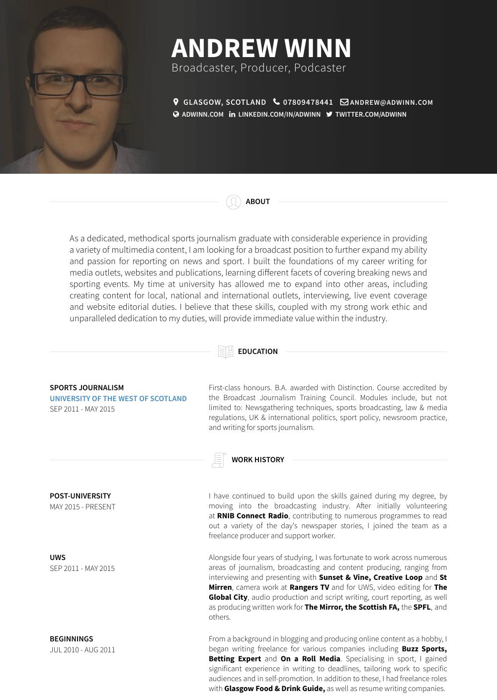 University Resume Sample