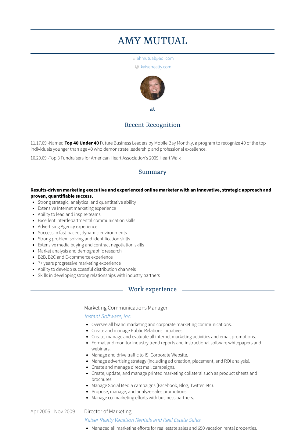Marketing Communications Manager Resume Sample