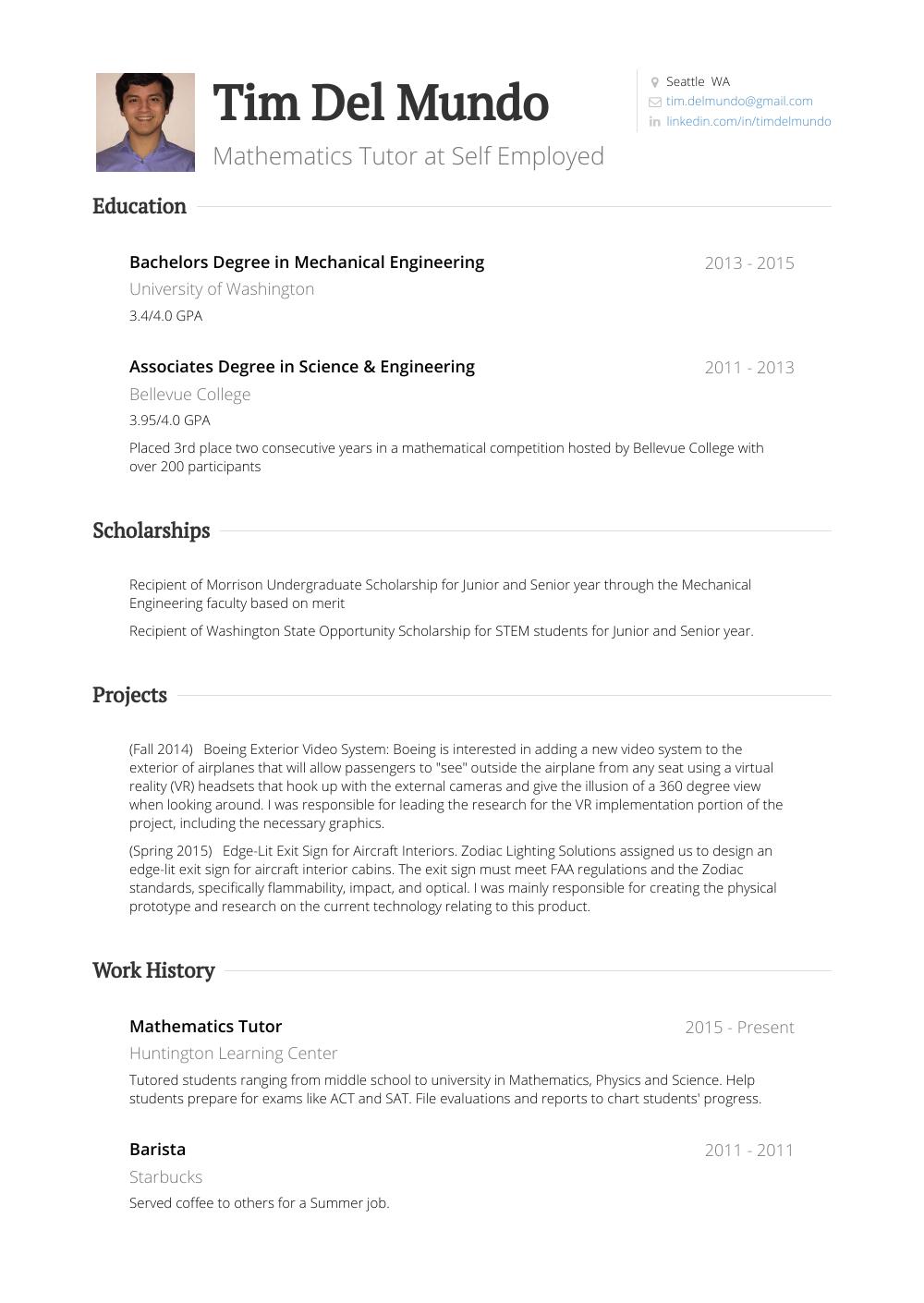 math tutor resume sample