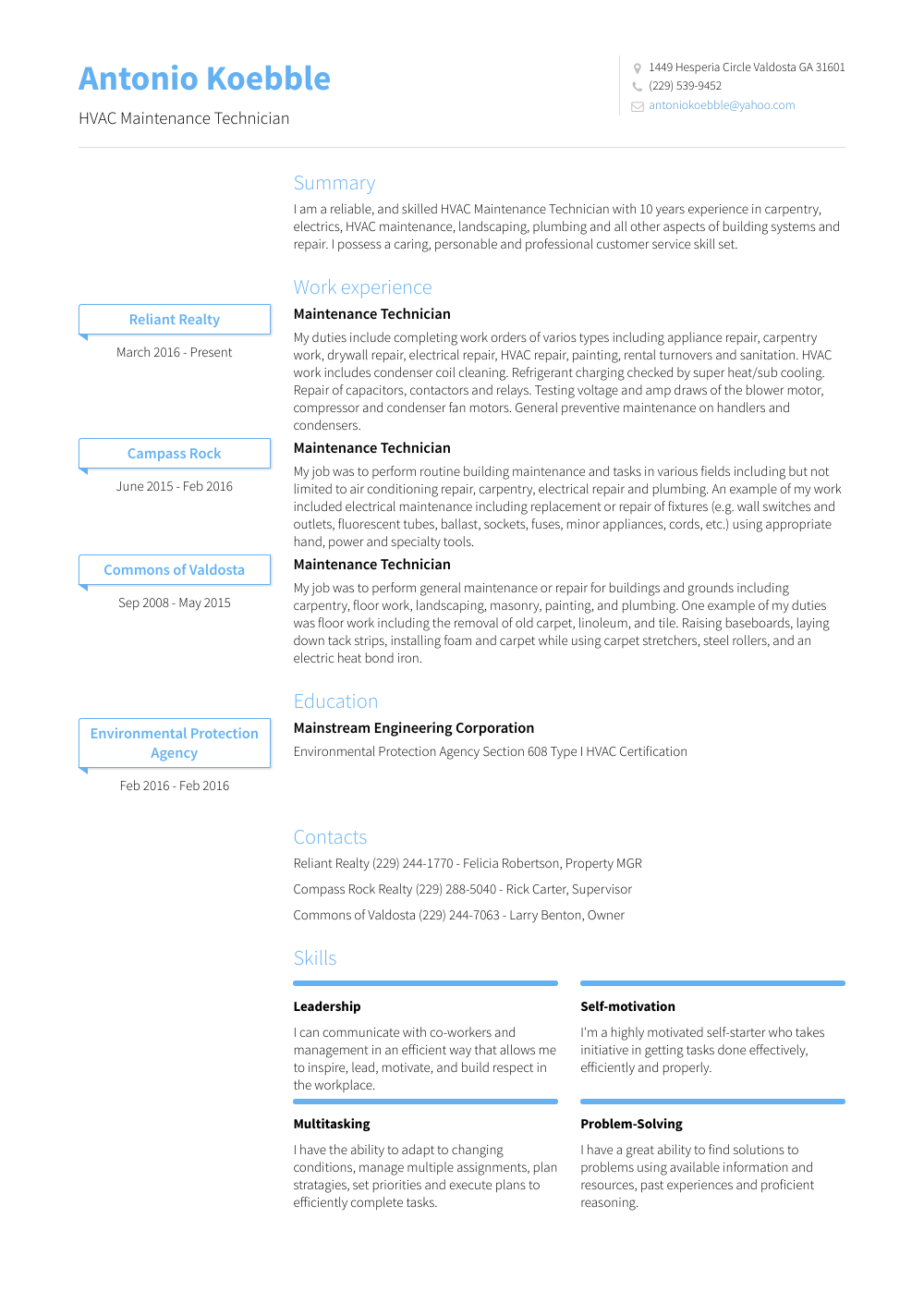 Maintenance Resume Sample