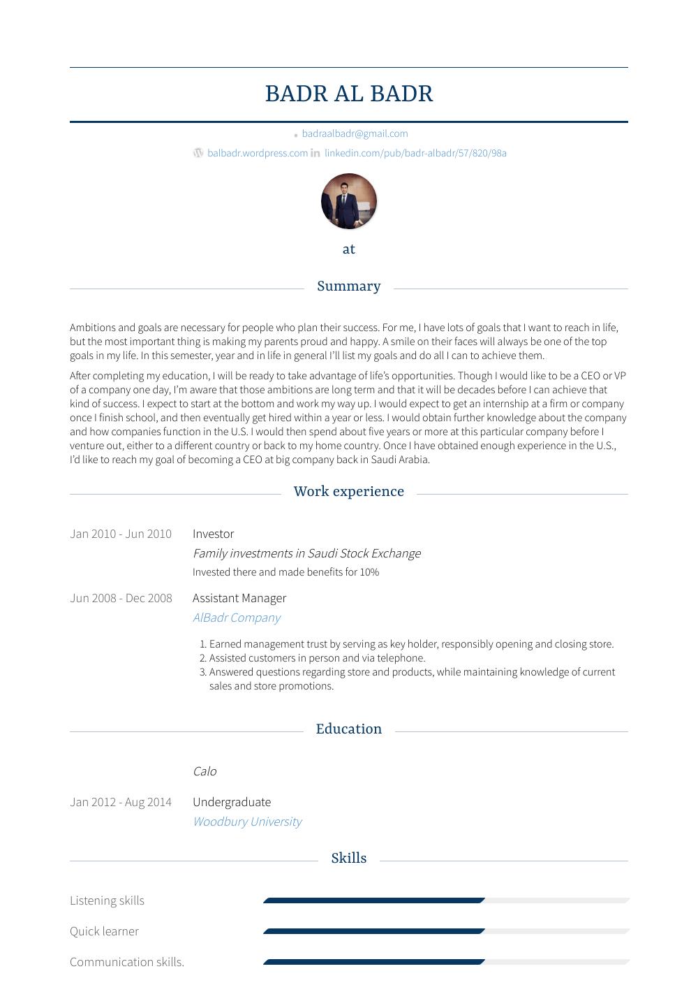 Investor Resume Sample