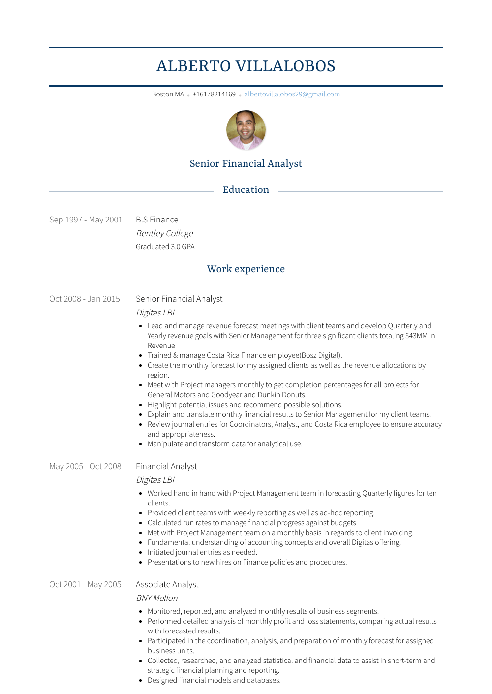 Senior Financial Analyst Resume Samples Templates Visualcv