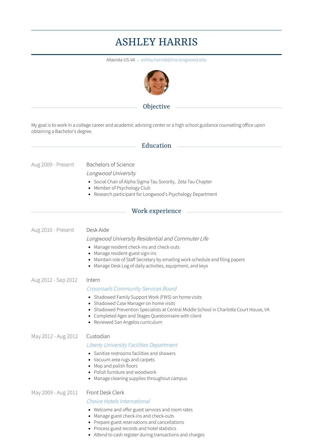 Desk Aide Resume Sample