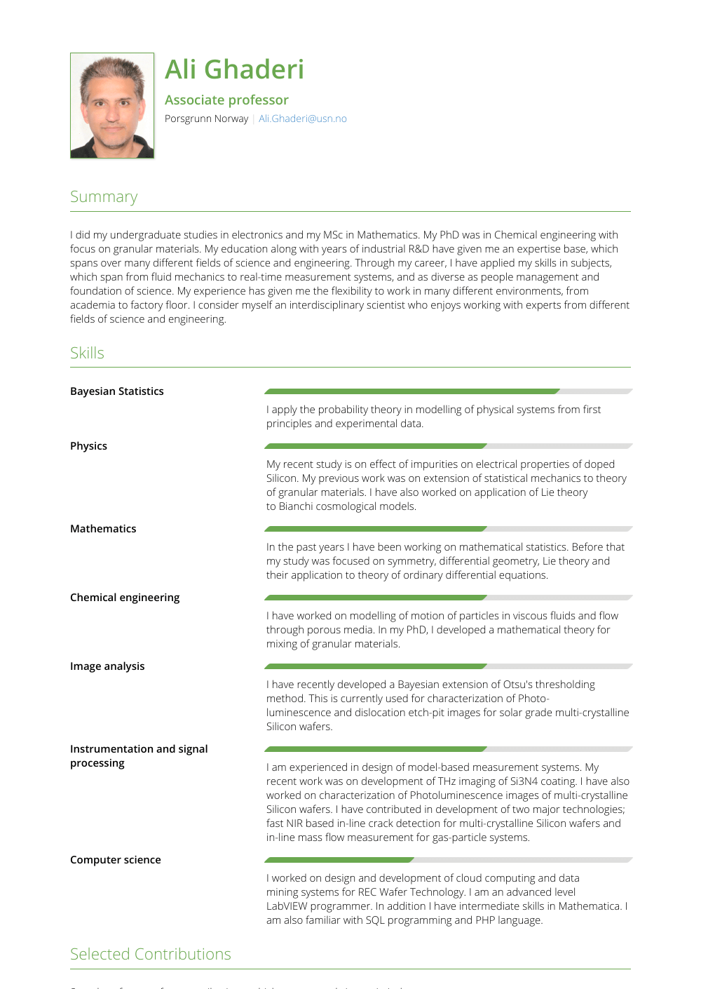 Scientist Resume Sample