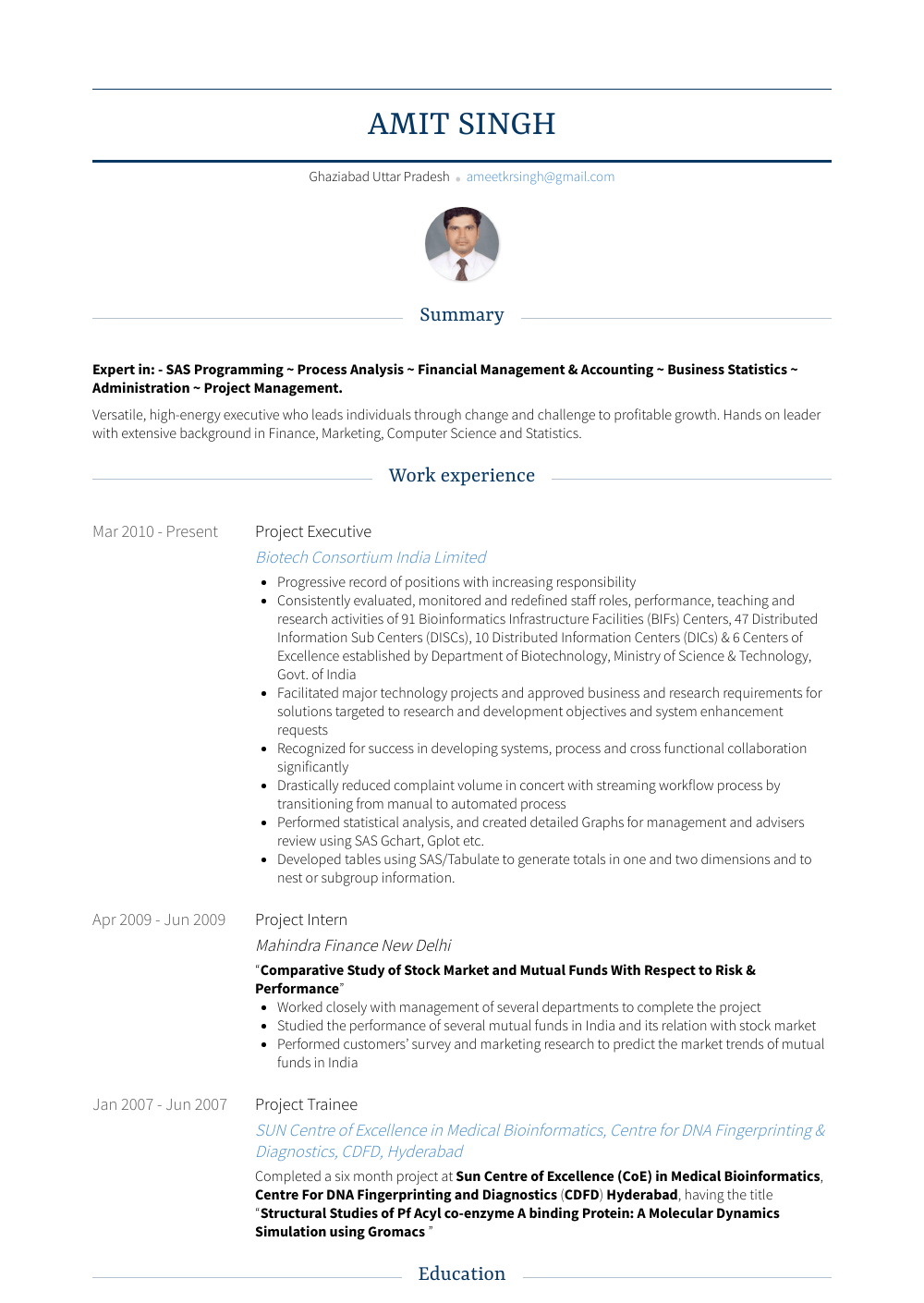 Project Executive Resume Sample