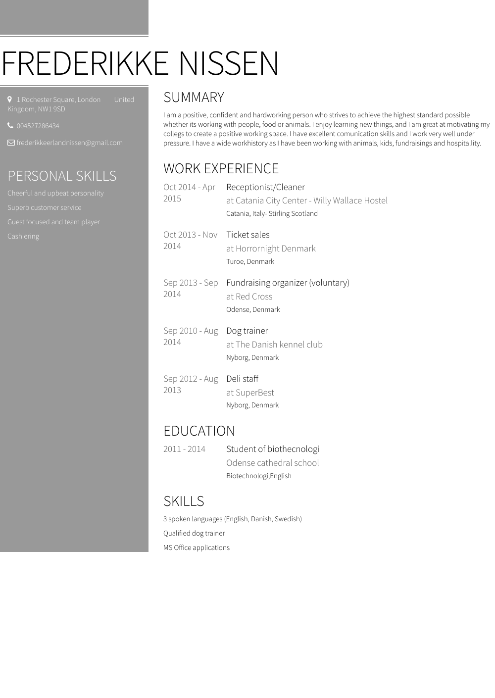 Cleaner Resume Sample