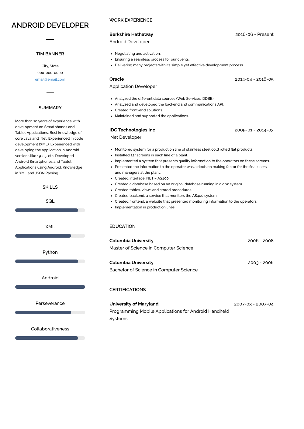 Android Developer - Resume Samples & Templates | VisualCV