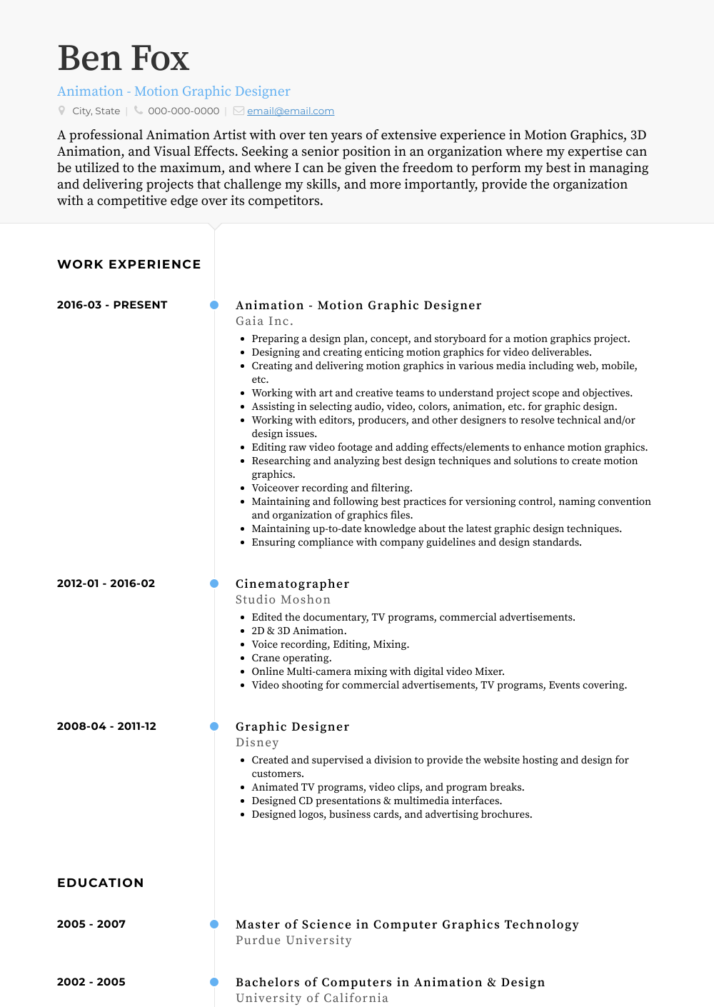 Animation - Motion Graphic Designer Resume Sample and Template