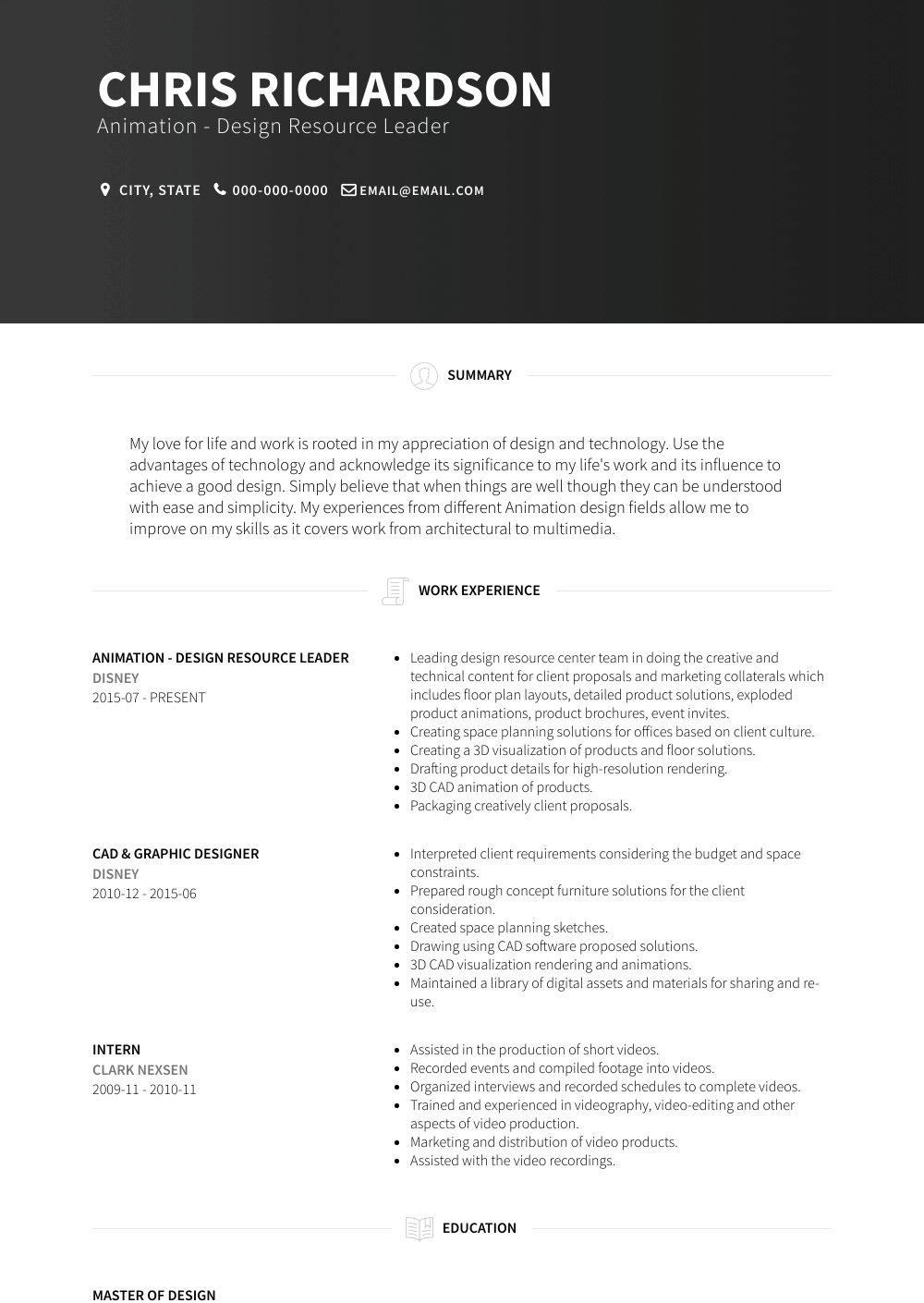 Animation - Design Resource Leader Resume Sample and Template