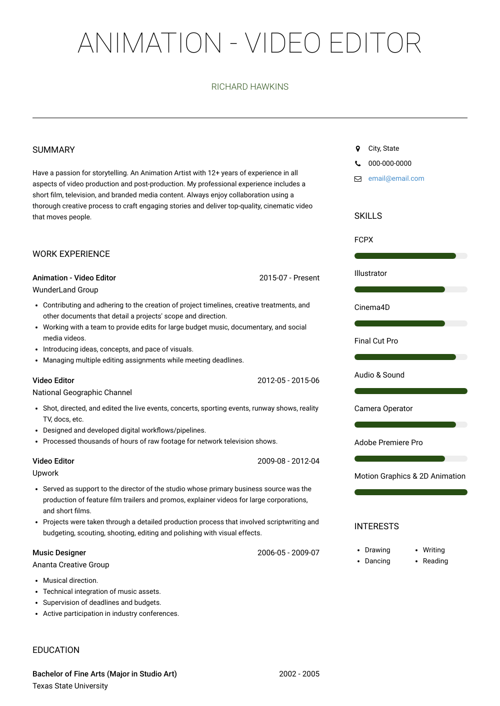 Animation - Video Editor Resume Sample and Template