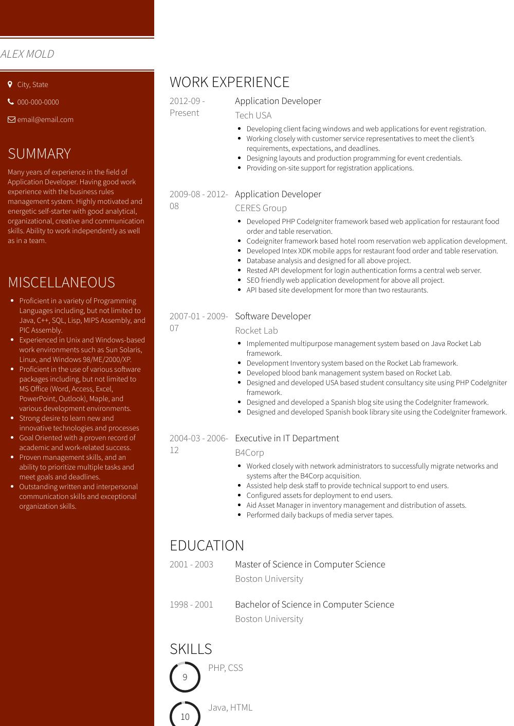 Application Developer Resume Sample and Template