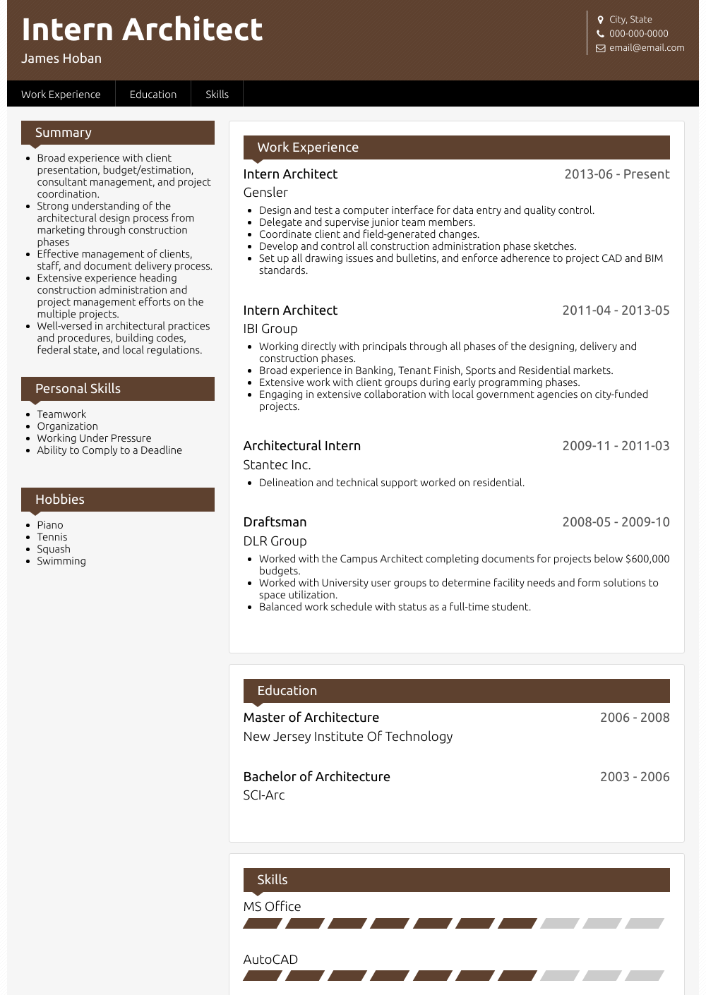 Architectural Intern - Resume Samples & Templates | VisualCV