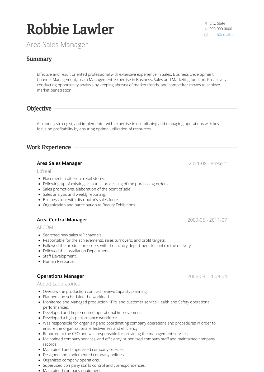 Area Manager - Resume Samples & Templates | VisualCV