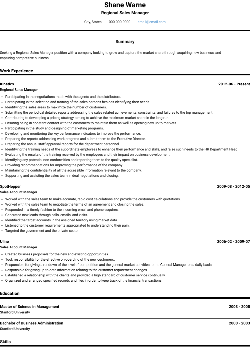 Area Sales Manager - Resume Samples & Templates | VisualCV