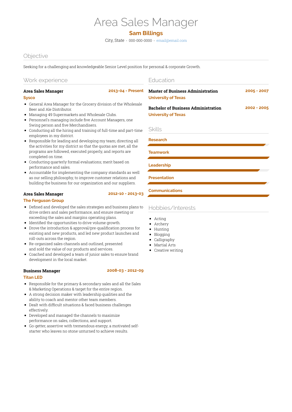 Area Sales Manager Resume Samples And Templates Visualcv
