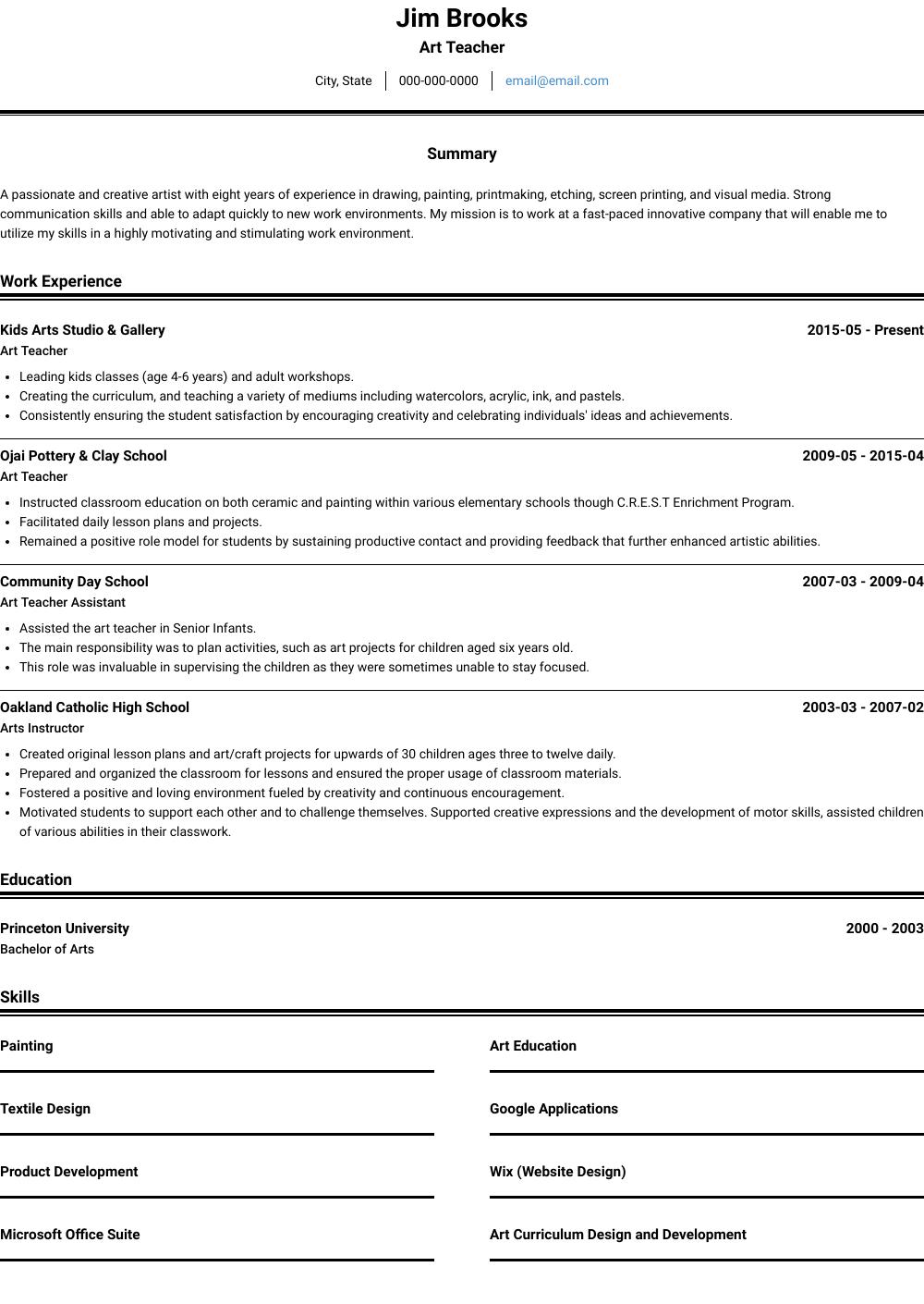 Art Teacher View Sample