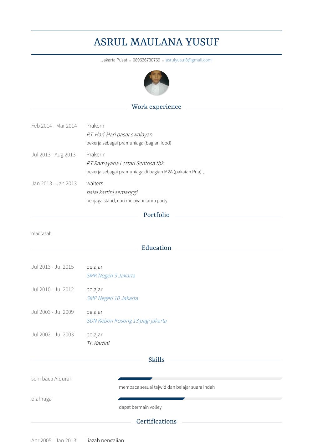 Prakerin Resume Sample