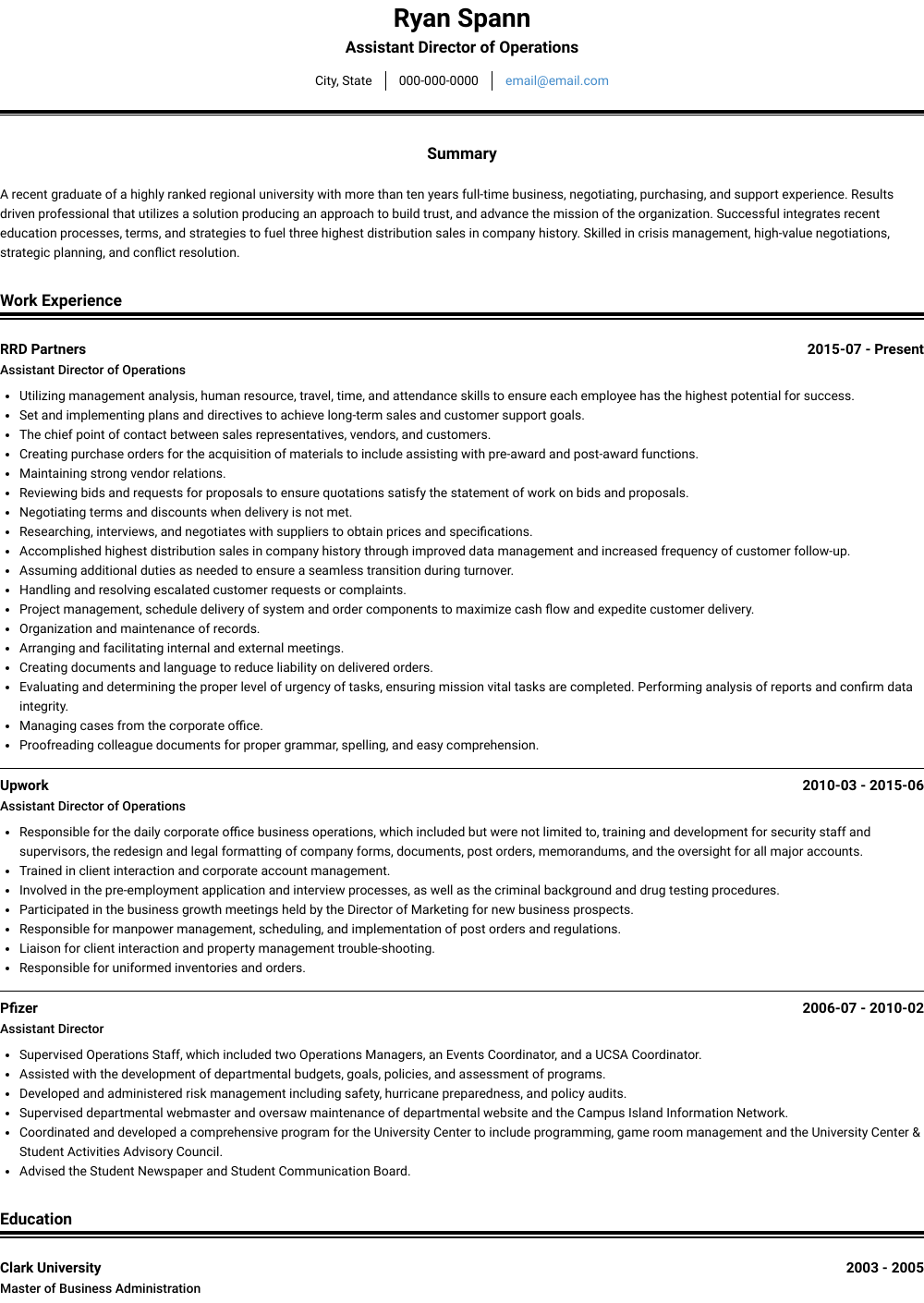 Assistant Director Of Operations Resume Sample and Template