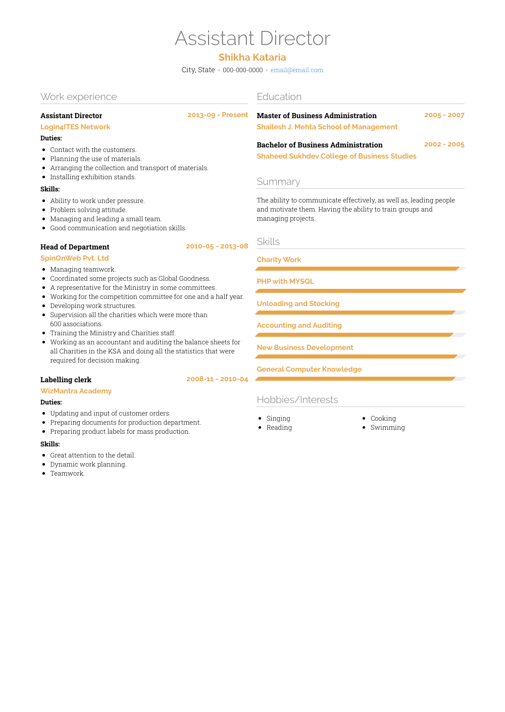Assistant Director Resume Sample