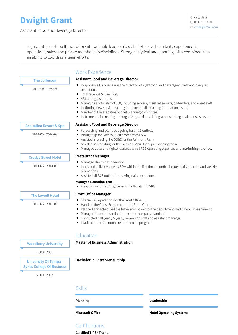 Assistant Food And Beverage Director Resume Sample and Template