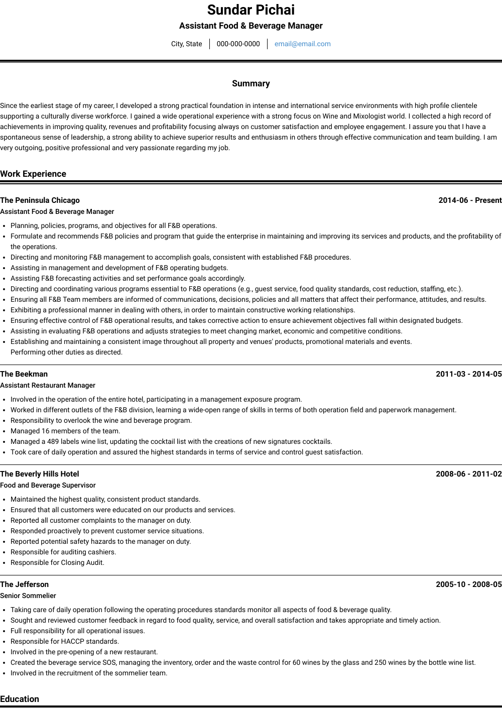Assistant Food & Beverage Manager Resume Sample and Template