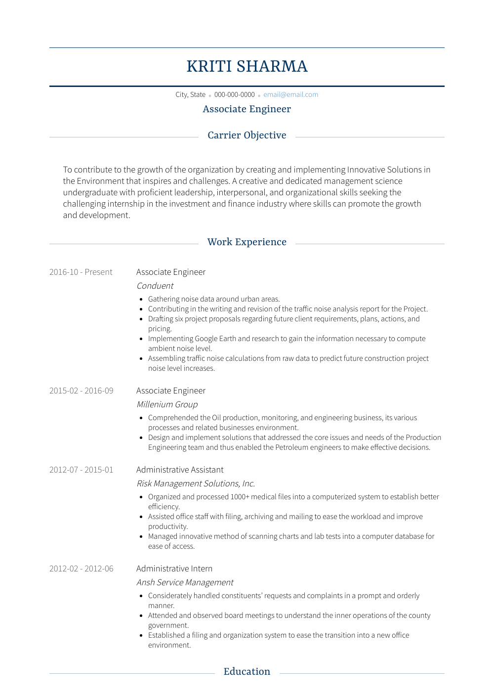 Associate Engineer  Resume Samples