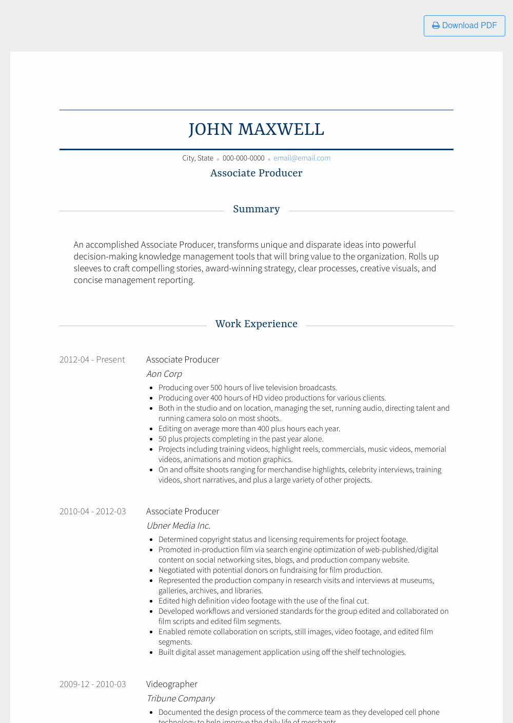 Associate Producer Resume Sample and Template