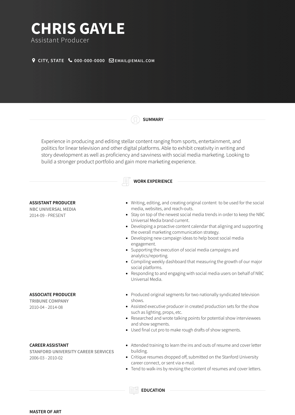 Assistant Producer Resume Sample and Template