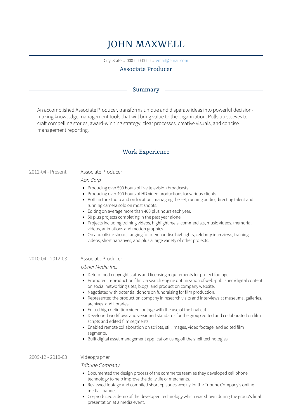 Executive Producer Resume Sample