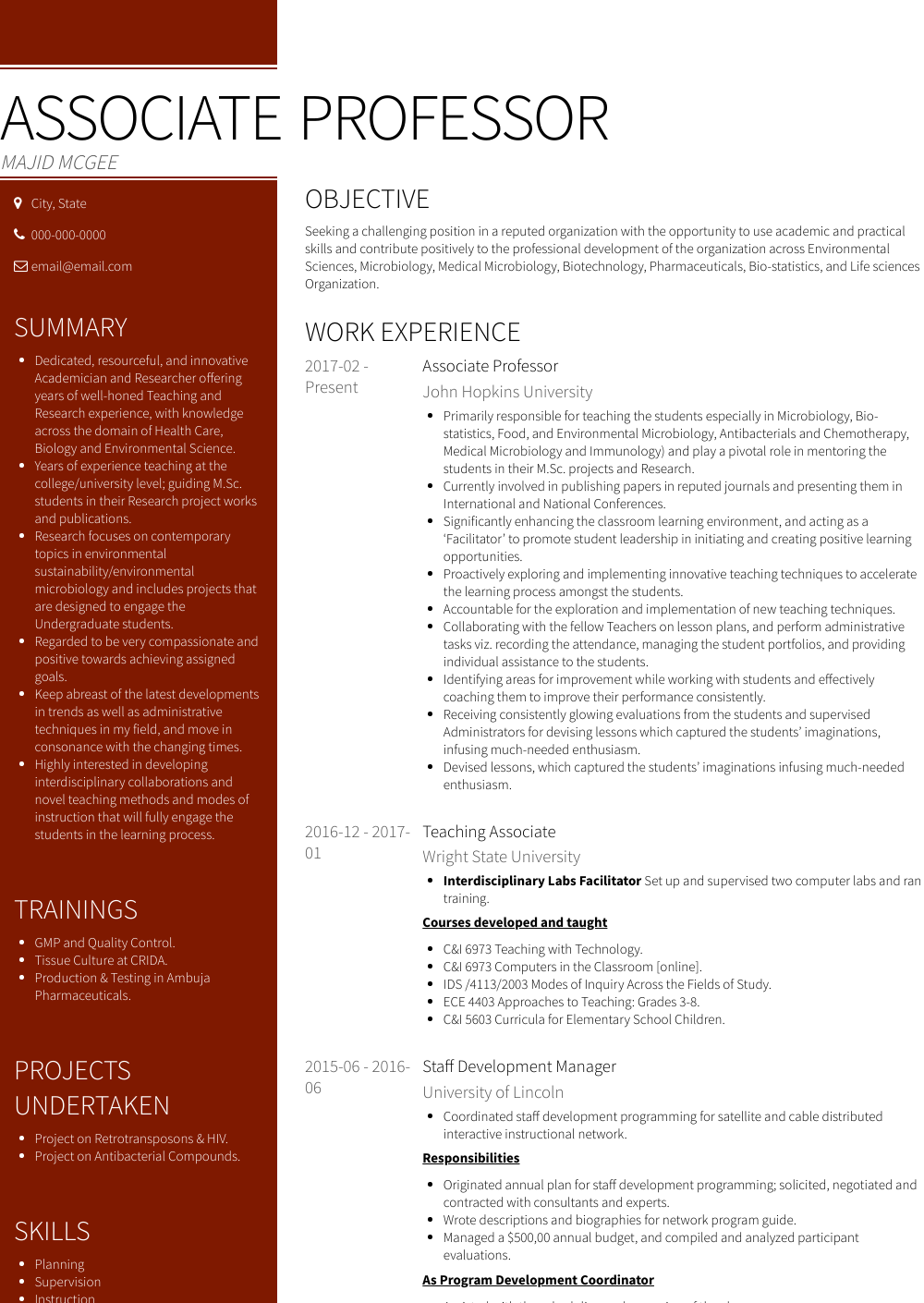 chronological resume samples examples
