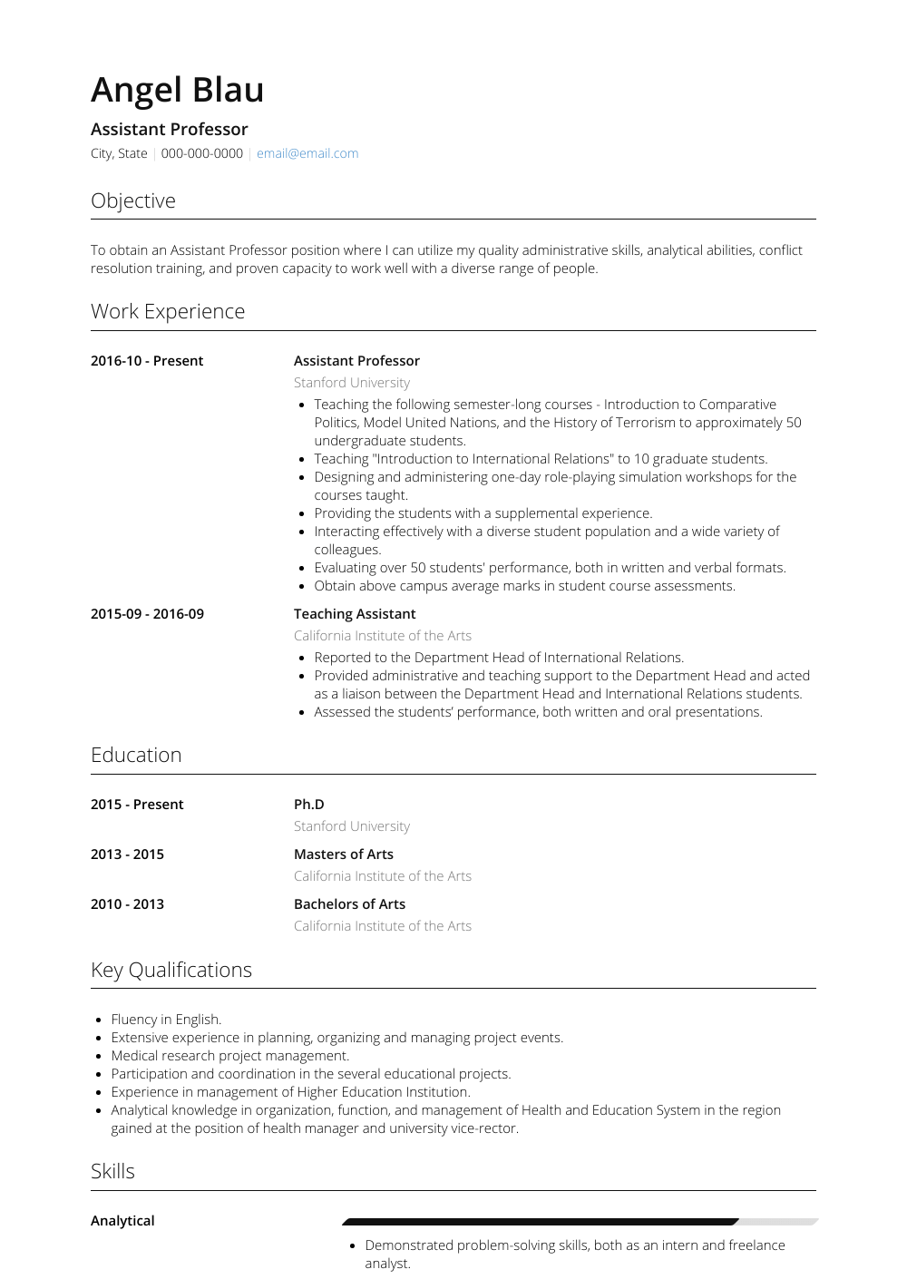 Assistant Professor Resume Sample and Template