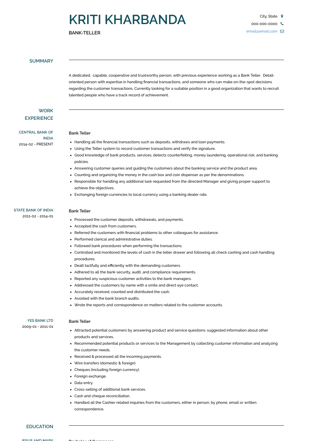 Bank Teller Resume Sample and Template