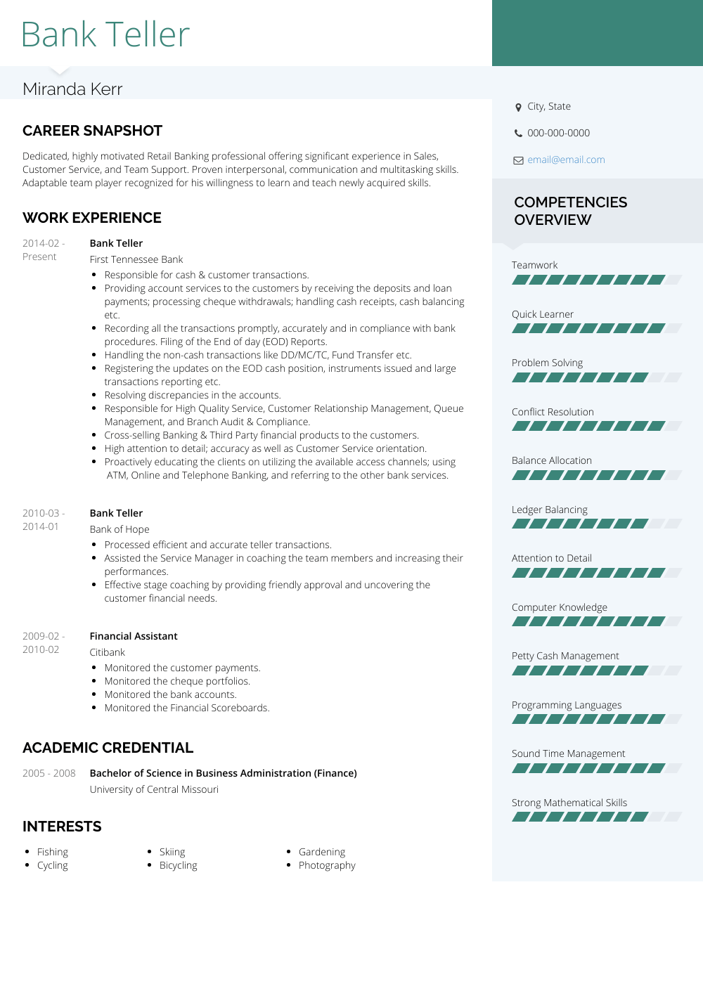 Bank Teller Resume Samples And Templates Visualcv