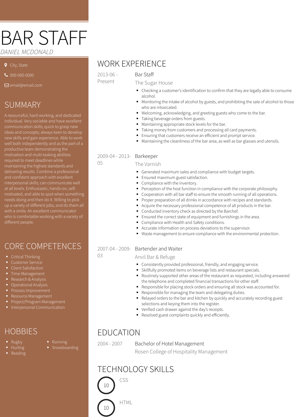 Bar Staff Resume Sample and Template