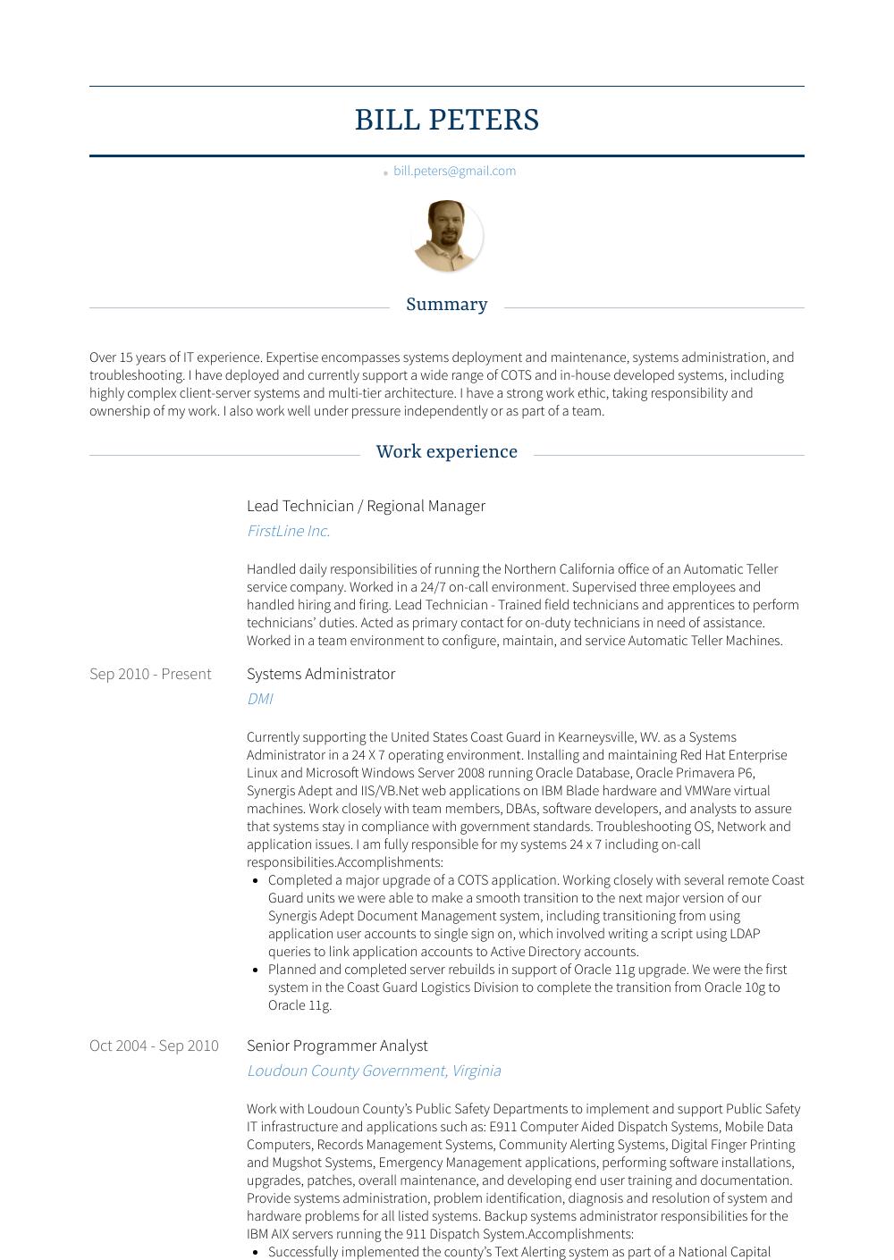 Lead Technician Resume Sample